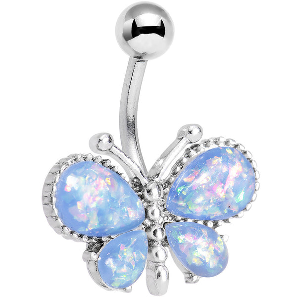 Light Blue Faux Opal Bless My Butterfly Belly Ring
