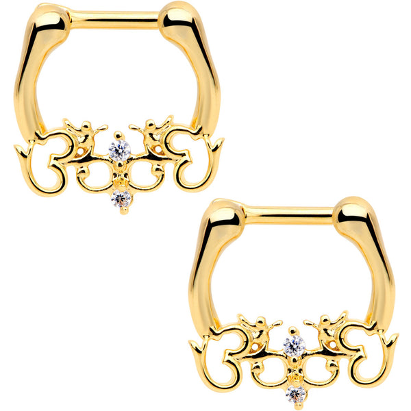 1/4 Clear CZ Gem Gold Tone Anodized Angel Swirl Nipple Clicker Set