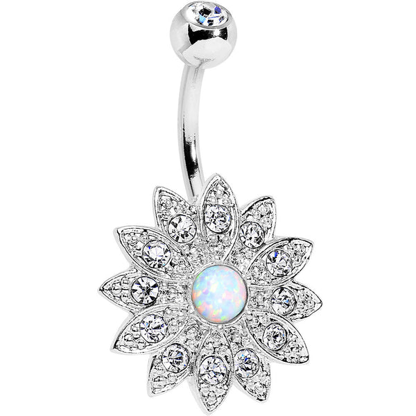 White Faux Opal Clear Gem Steel Fancy Sparkle Flower Belly Ring