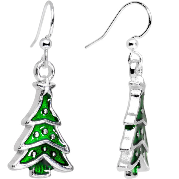 Silver Plated Classic Christmas Tree Fishhook Earrings