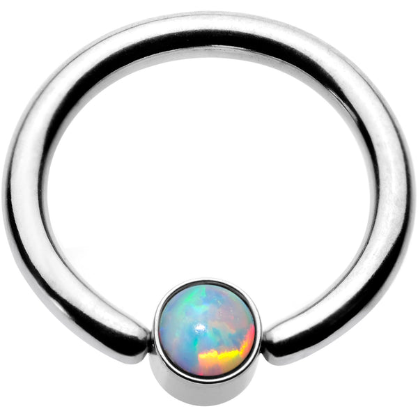 16 Gauge 5/16 White Faux Opal 3mm Disc BCR Captive Ring