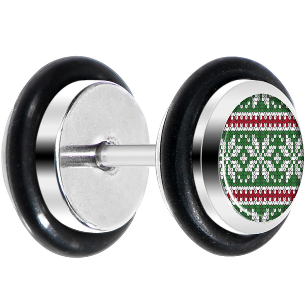 Green Red Christmas Sweater Cheater Plug Set