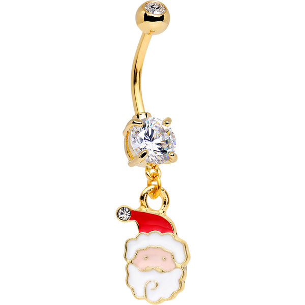Clear Gem Gold Tone Anodized Jolly Santa Dangle Belly Ring