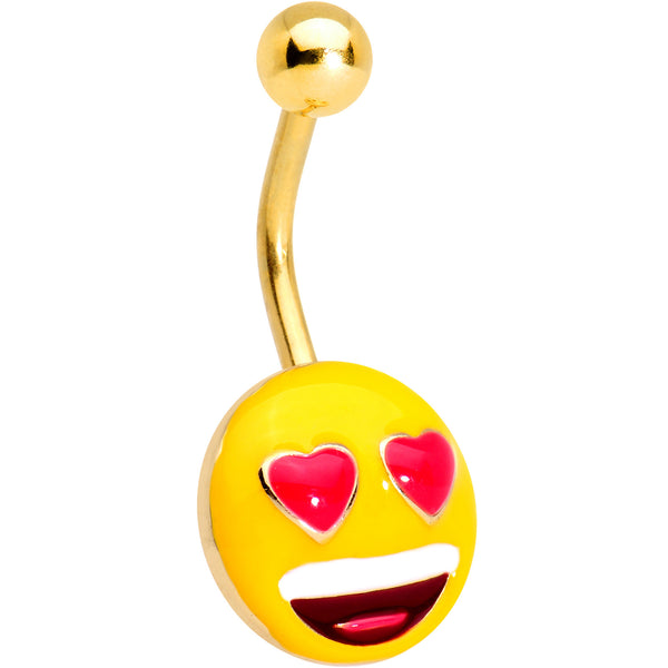 Officially Licensed Heart Eyes emoji Gold Tone Anodized Belly Ring