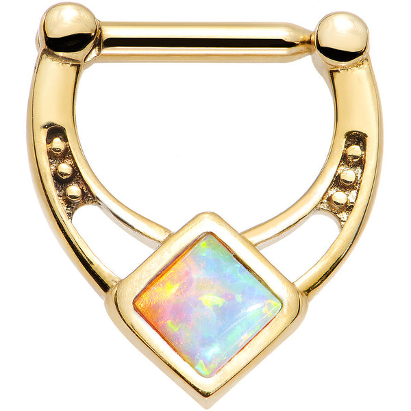 14 Gauge 5/16 White Faux Opal Gold Anodized Glamour Septum Clicker
