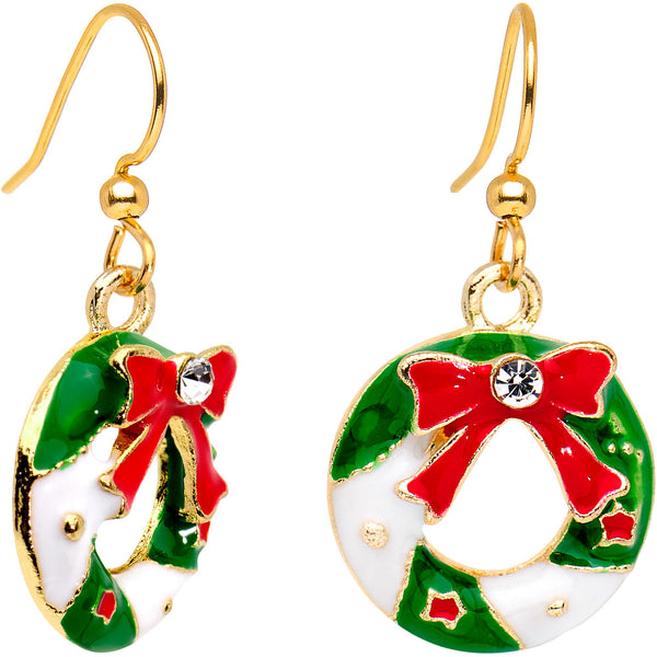 Clear CZ Gem Gold Plated Christmas Wreath Fishhook Earrings