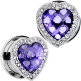 Clear Purple Gem Hug Your Heart Screw Fit Plug Set 6mm to 22mm