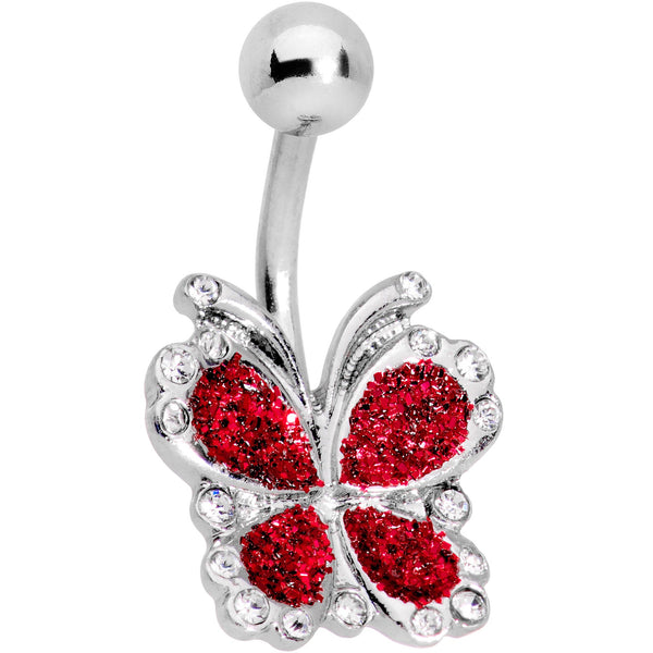 Clear Gem Red Sparkle Butterfly Belly Ring