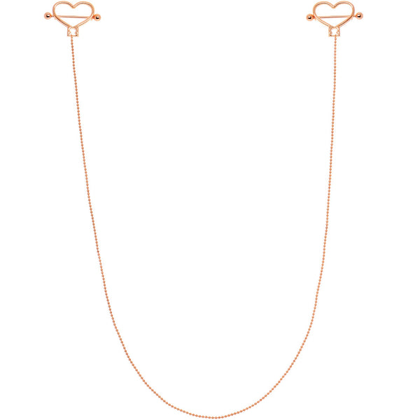 Rose Gold Tone Anodized Heart to Heart Dangle Nipple Chain