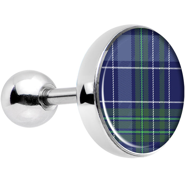 16 Gauge 1/4 Holiday Blue Green Plaid Tragus Cartilage Earring
