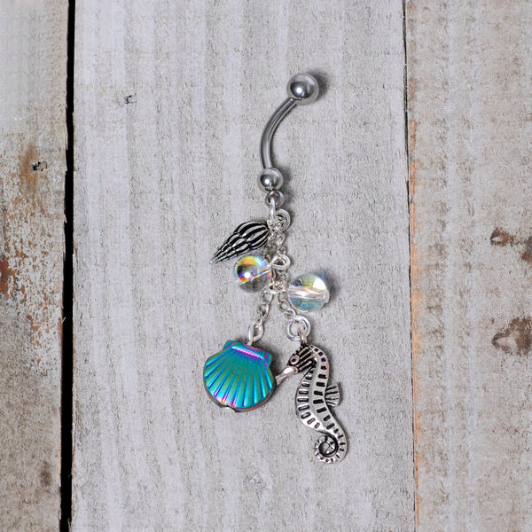 Handmade Ocean Joy Dangle Belly Ring Created with Swarovski Crystals