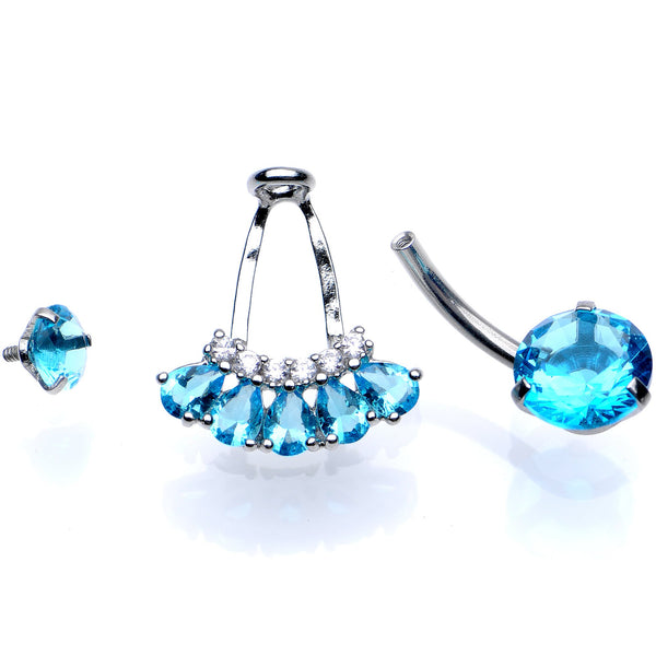 Aqua Gem Swagger Sweep Dangle Belly Ring