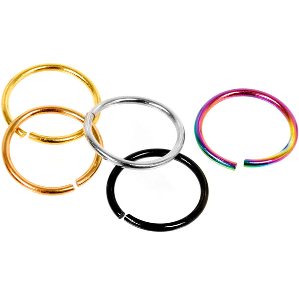 20 Gauge 5/16 Multi Color Seamless Circular Ring Set of 5