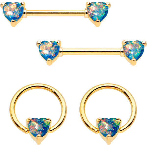 14 Gauge Blue Faux Opal Heart Captive Ring Barbell Nipple Ring Set