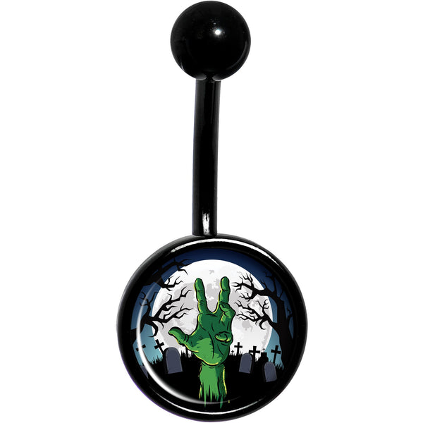 Cemetery Zombie Hand Halloween Black Belly Ring