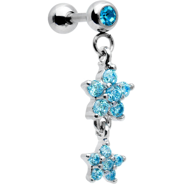 16 Gauge 1/4 Aqua Gem Double Star Dangle Cartilage Tragus Earring