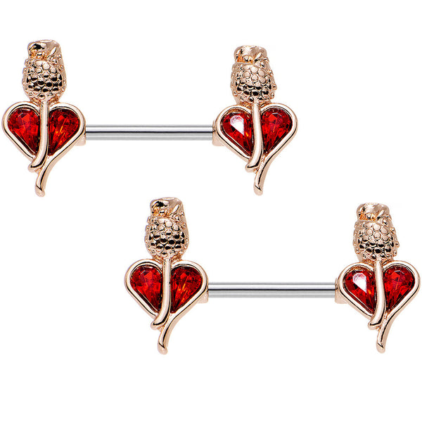 "14 Gauge 9/16"" Red Gem Rosy Hue Heart and Rose Nipple Barbell Set"