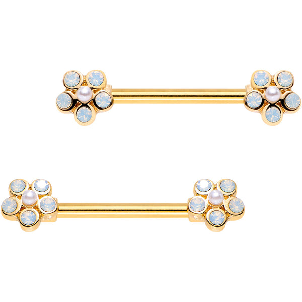 9/16 White Faux Opal Gold Plated Flower Barbell Nipple Ring Set
