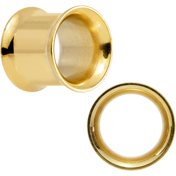 00 Gauge Gold Plated Steel Double Flare Tunnel Plug Set