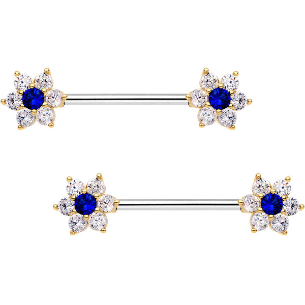 9/16 Blue CZ Gem Shimmering Flower Petal Barbell Nipple Ring Set