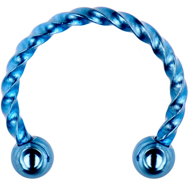 16 Gauge 3/8 Light Blue Seriously Twisted Horseshoe Circular Barbell