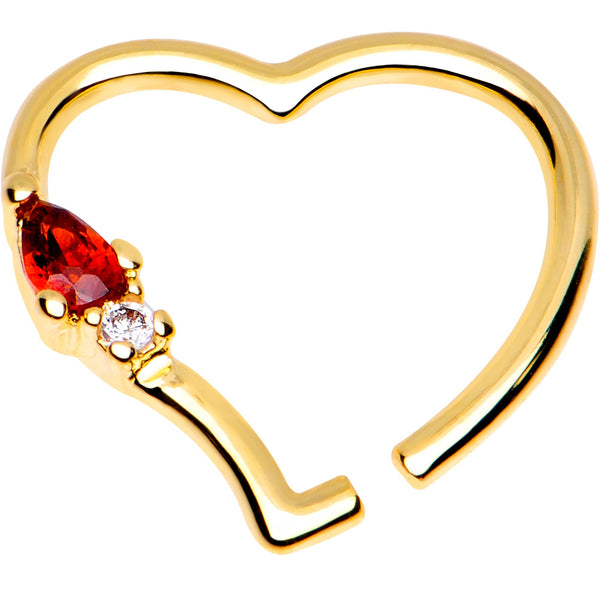 3/8 Red CZ Gem Gold Plated Free Heart Right Daith Cartilage Tragus
