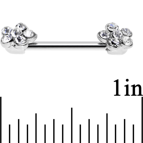 14 Gauge 5/8 Clear Gem Pluck a Flower Barbell Nipple Ring Set