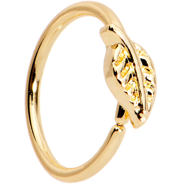 20 Gauge 5/16 Gold PVD Little Leaf Seamless Circular Ring