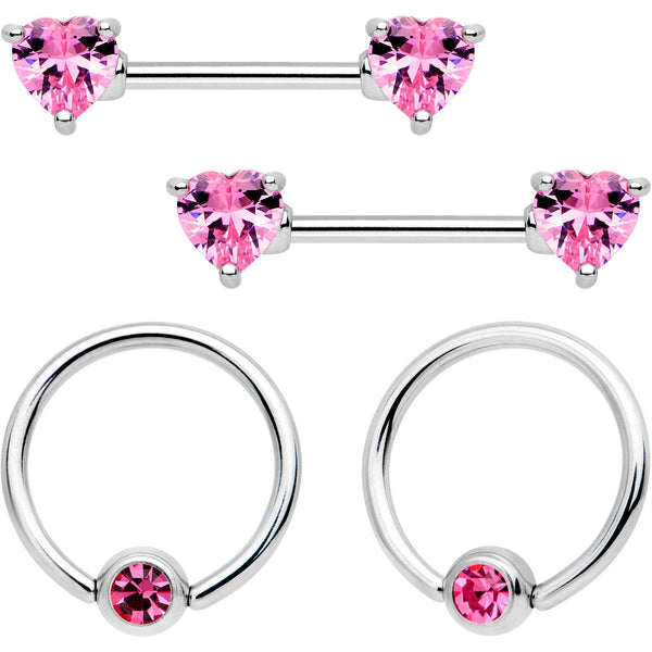 14 Gauge 9/16 Pink Gem Heart Captive Ring Barbell Nipple Ring Set