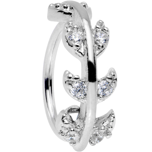 18 Gauge Clear CZ Gem Leafy Seamless Circular Ring