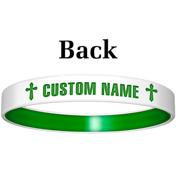 Personalized White Green God Silicone Religious Message Bracelet