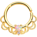 16 Gauge 5/16 White Faux Opal Gold Plated Seamless Circular Ring