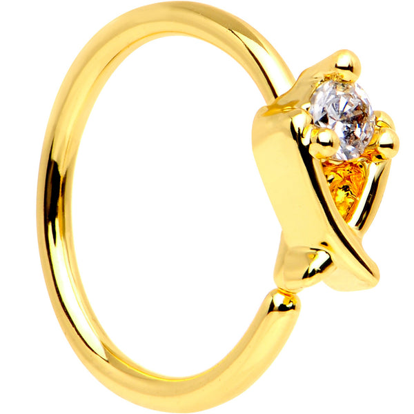 20 Gauge 5/16 Clear CZ Gem Gold PVD Crisscross Seamless Circular Ring