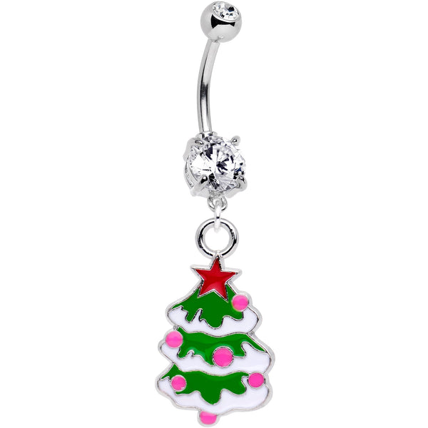 Snowy Christmas Tree Dangle Belly Ring Created with Swarovski Crystals