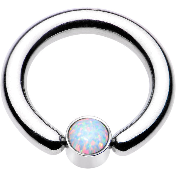 8 Gauge 1/2 White Faux Opal 5mm Disc BCR Captive Ring