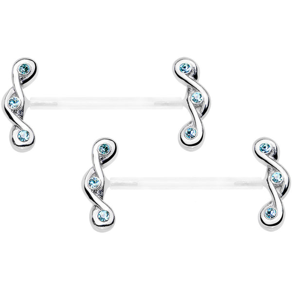 "13/16"" 925 Silver Aqua Blue Gem Bioplast Triple Twist Nipple Ring Set"