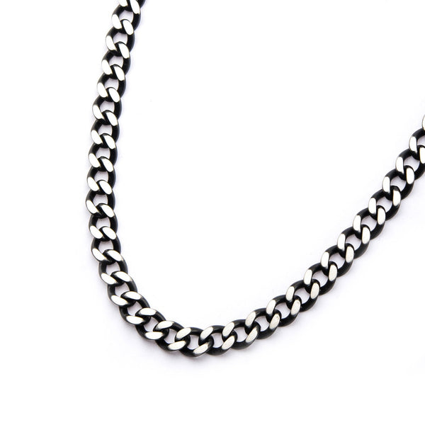 Mens Stainless Steel Black IP Diamond Cut 3mm Chain Link Necklace