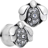 1/2 Clear Gem Steel Allow Me Ladybug Double Flare Tunnel Plug Set