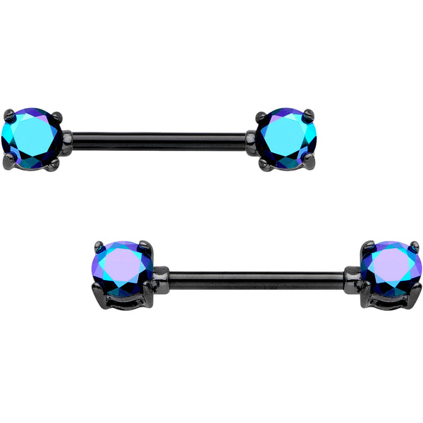 9/16 Blue Aurora Gem Black Anodized Prong Barbell Nipple Ring Set
