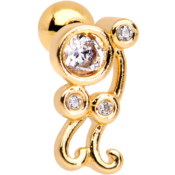 Clear CZ Gem Gold Tone Anodized Sassy Swirl Cartilage Tragus Earring