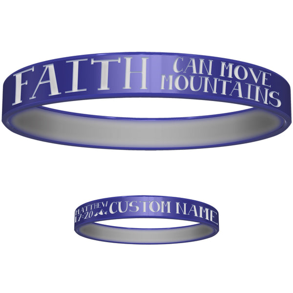 Personalized Blue Green Faith Silicone Religious Message Bracelet