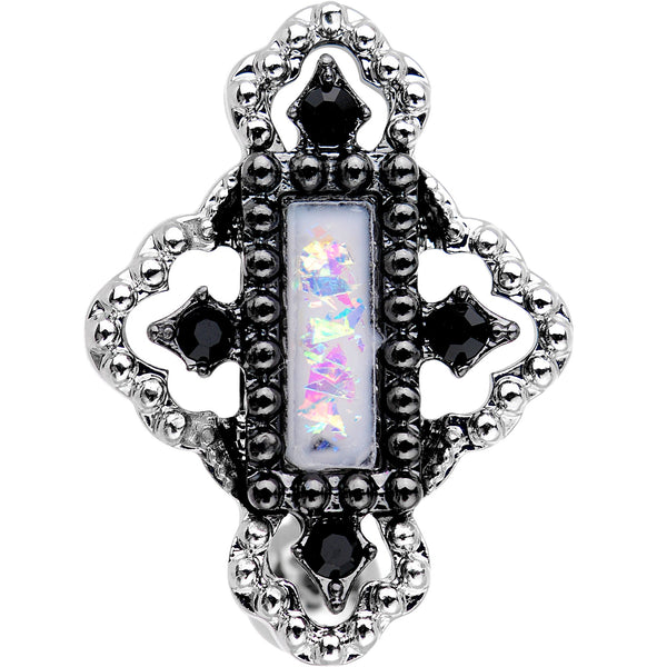 White Gem Confetti Party Pendant Top Mount Belly Ring