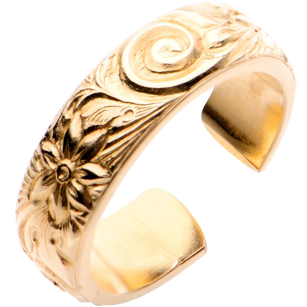 Handcrafted 14kt Yellow Gold Filled Swirl Flower Toe Ring