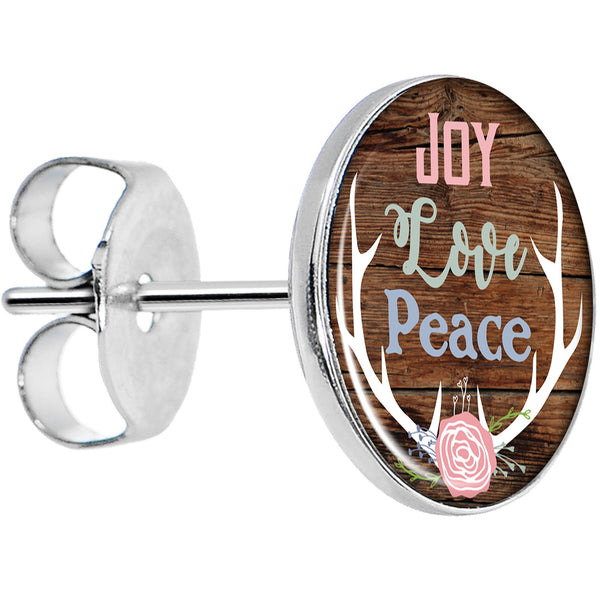 Joy Love Peace Antlers Stud Earrings