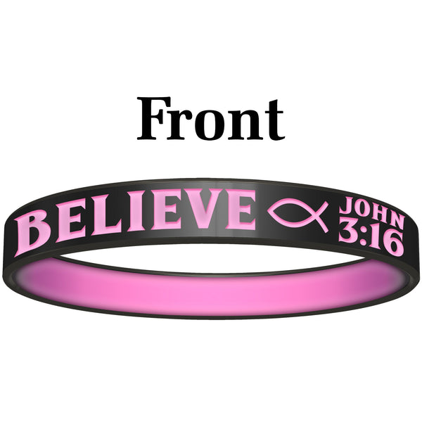 Personalized Black Pink Believe Silicone Religious Message Bracelet