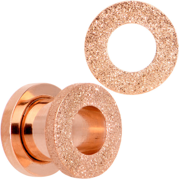 Rose Gold PVD Sandblasted Screw Fit Tunnel Plug Set 5mm to 16mm