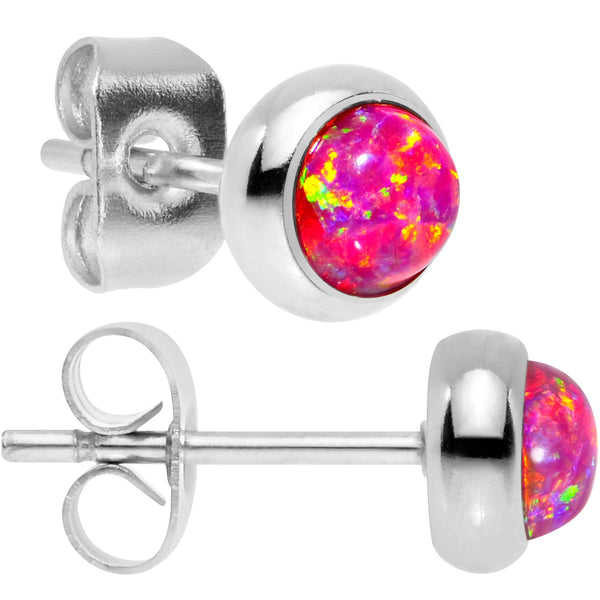 Red Synthetic Opal 316L Surgical Steel Stud Earrings