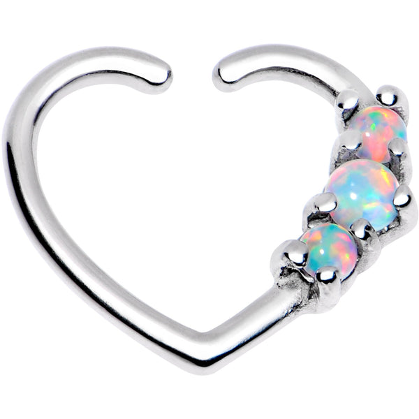 3/8 White Synthetic Opal Heart Left Daith Cartilage Tragus