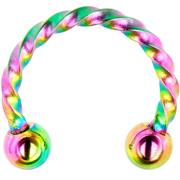 16 Gauge 5/16 Rainbow Seriously Twisted Horseshoe Circular Barbell