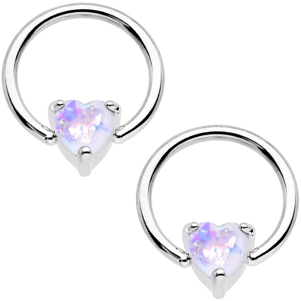 White Faux Opal Heart Captive Ring Straight Barbell Nipple Ring Set